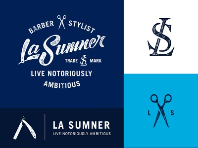 LaSumner Branding nicholas damico designbydiamond lasumner monogram scissors straight razor logo brand