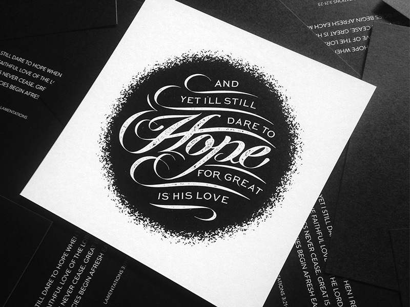 Dare To Hope script love verse typography lettering hope