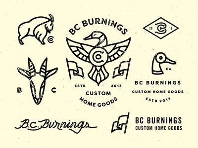 Bc Burnings - Branding Exploration bc burnings flag monogram goat duck c b typography lettering branding brand logo