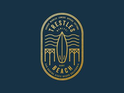 Surf Trestles typography logo beach trestles surf badge