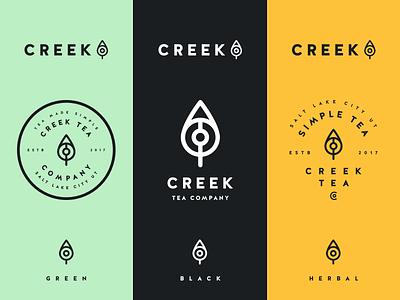 Creek Tea Logo/Color Exploration herbal black green kettle brand mark tea creek
