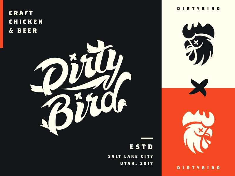 Dirtybird brand exploration x bird beer craft chicken dirtybird lettering typography script logo brand