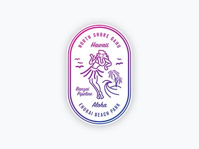 Banzai Pipeline hawaii aloha hula illustration design badge surf