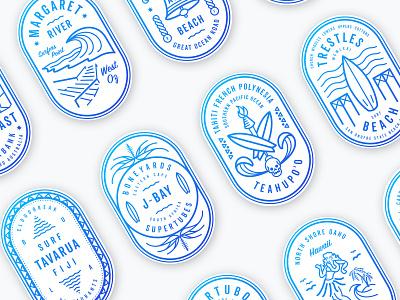 Surf The World australia fiji california skull hawaii aloha hula illustration design badge surf