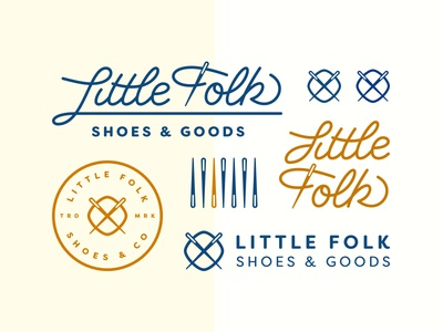 Little Folk Shoes - Logo & Marks blue designbydiamond thread needle little script logo branding