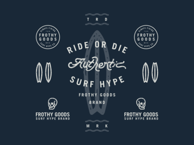 Frothy Goods Comps badge logo hype authentic skull blue brand surf