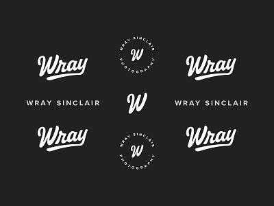 Wray Sinclair Brand red w wray photography branding badge script logo brand