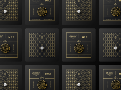 Limited Chocolate - Pin Backers pattern print diamond chocolate cacao gold pin package design branding
