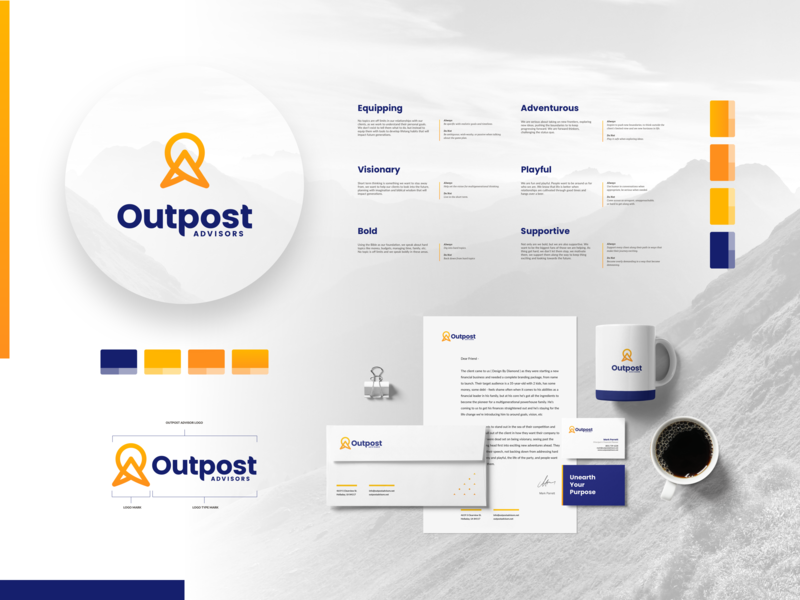 Outpost Advisors - style guide overview print outpost orange icon style guide finance mountain yellow blue logo branding brand