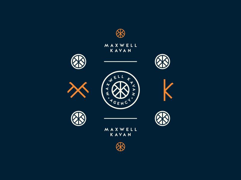 Maxwell Kavan Branding k orange blue badge m monogram logo icon brand branding