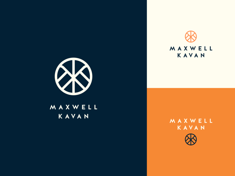 Maxwell Kavan Branding color exploration orange blue k m monogram logo branding brand