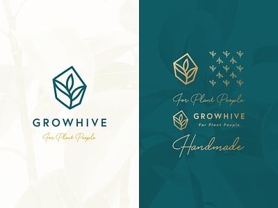 Growhive Branding script pattern icon grow plant leaf gold green brand branding logo