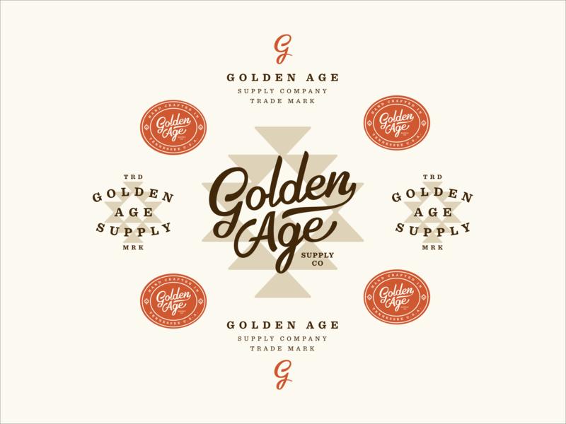 Golden Age Supply Co Branding branding and identity brown orange badge aztec script typography western golden branding