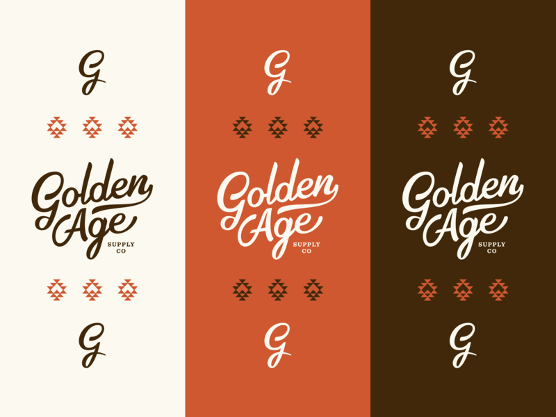 Golden Age Branding Color Spread aztec golden orange western g monogram mark logo brand typography script