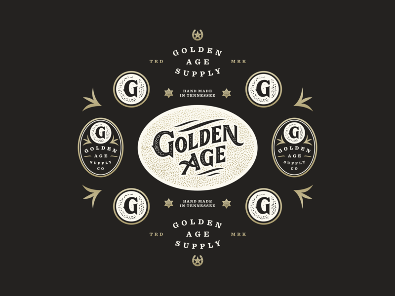 Golden Age Vintage Elements logo design logo g golden leather western branding brand