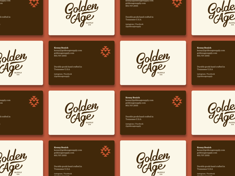 Golden Age - Business Cards leather brown icon script typography western branding logo business card design
