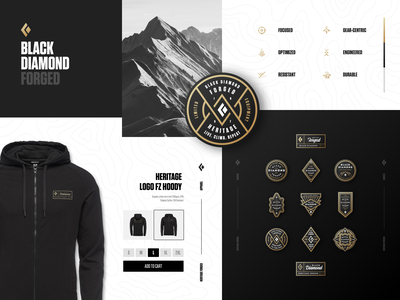 Black Diamond Forged apparel icons gold diamond black diamond mountain outdoors sports branding logo