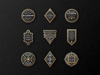 Black Diamond Badges icons black diamond mountains gold diamond logo badge