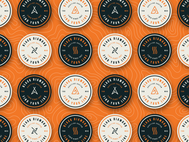 Find Your Line Badges diamond sports outdoors orange icon logo branding badge