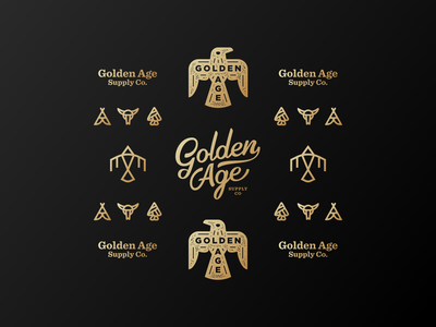 Golden Age Co Brand Elements logodesign typography lettering script supply leather gold bird eagle mark icon brand branding