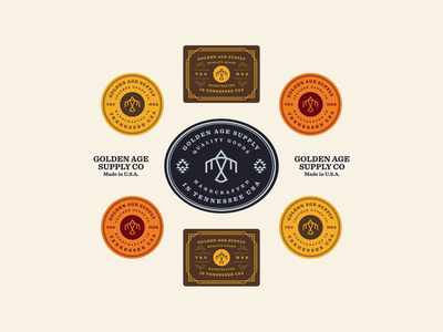 Golden Age Badges typography logodesign logo icon western eagle brand design branding badge