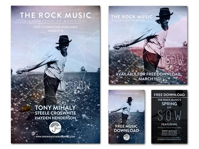 The Rock Music SOW E.P. poster e.p. branding texture postcard flyer cd cover card design print album art