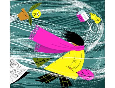 Storm Thursday storm wind brushes ink illustration digital illustration