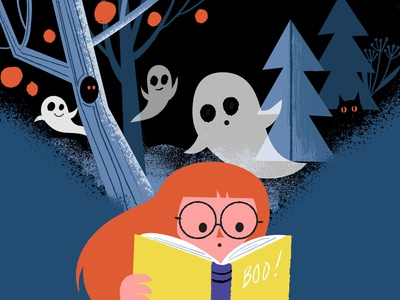 Ghost Story reading halloween spooky ghost stories boo digital illustration character illustration