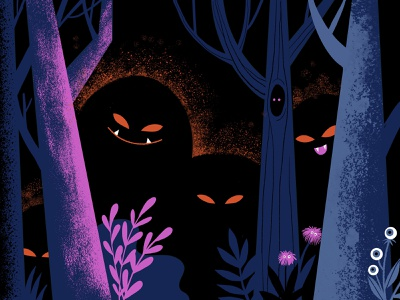 All Eyes peculiar digital illustration teeth eyes scary suspicious forest spooky creatures monsters illustration halloween