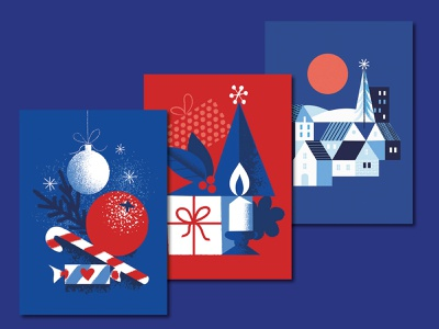 Red and Blue Christmas sparkle candy cane christmas tree stars red blue xmas card design christmas card digital illustration illustration