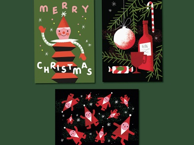 Red, Green and Black Christmas mulled wine elves retro black green red card design christmas card christmas illustration
