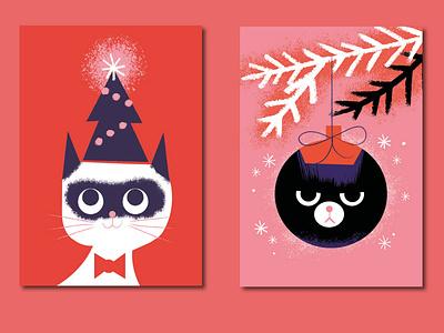 Cat Christmas Cards pink red christmas tree jolly bah humbug cats christmas card christmas card design digital illustration illustration
