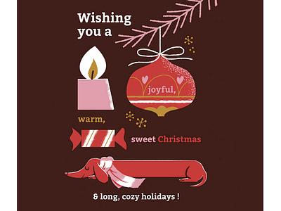 Wishes Card digital illustration dachshund greetings card wishes xmas christmas card card design illustration