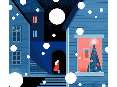Towards the holidays peaceful light christmas tree blue finland nordic snow christmas townscape digital illustration illustration