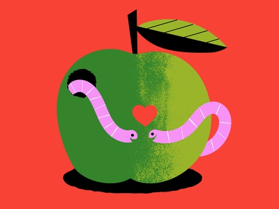 Worm Feelings weekly warm-up apple worms love valentines day digital illustration illustration