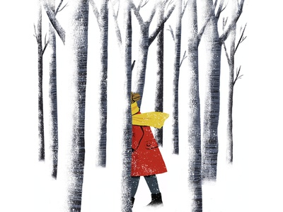 The Disappearing mystery woods forest winter surreal disappearing digital illustration illustration