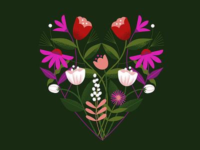 Floral Heart valentines day symmetry herbs plants flowers bloom heart floral digital illustration illustration