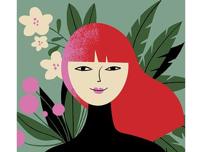 Women's day beauty redhead flora women character flowers digital illustration illustration