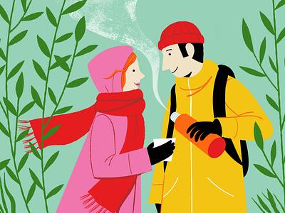 Happiness according to Finns friends coffee break nature happiness digital illustration illustration