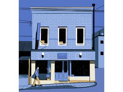 Blue Cafe city cafe cityscape kanazawa japan travel journal blue digital illustration illustration