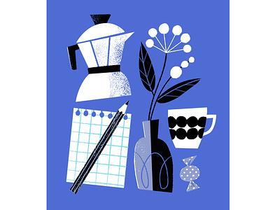 Weekend Plans flowers drawing planning coffee time blue still life digital illustration illustration