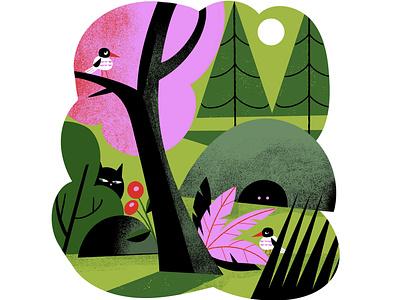 Beware the nature suspicious forest ogling eyes odd creatures candy colors landscape nature digital illustration illustration