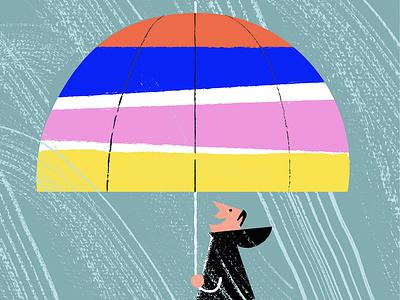 Positive thinking stripes positive happy umbrella rain autumn retro digital illustration illustration