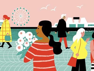 Market Square people lifestyle nordic finland helsinki market cityscape city life city digital illustration illustration