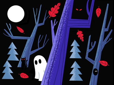 People are spooky people are spooky shy black cat digital illustration illustration illust haunting halloween forest ghost spooky