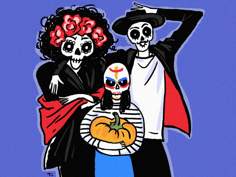 Skeleton Family illustration halloween