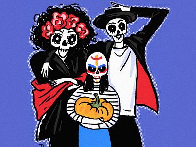 Skeleton Family illustration halloween