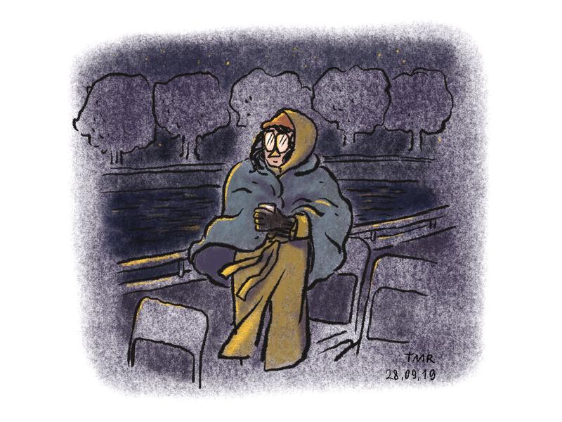A boat ride at night self portrait portrait illustration