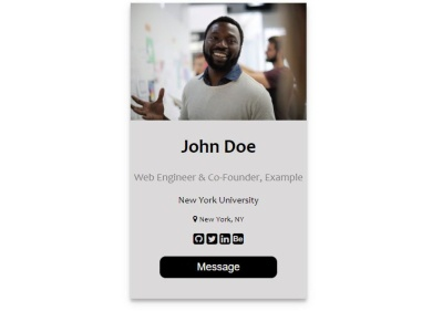 User Profile Card design coding web flat ux ui