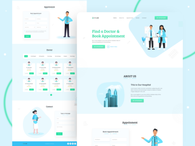Medical Center - Landing Page minimal website web uiux uidesign ui medical landing page insurance hospital healthcare health company branding typography illustration interface clean 2020 trend creative